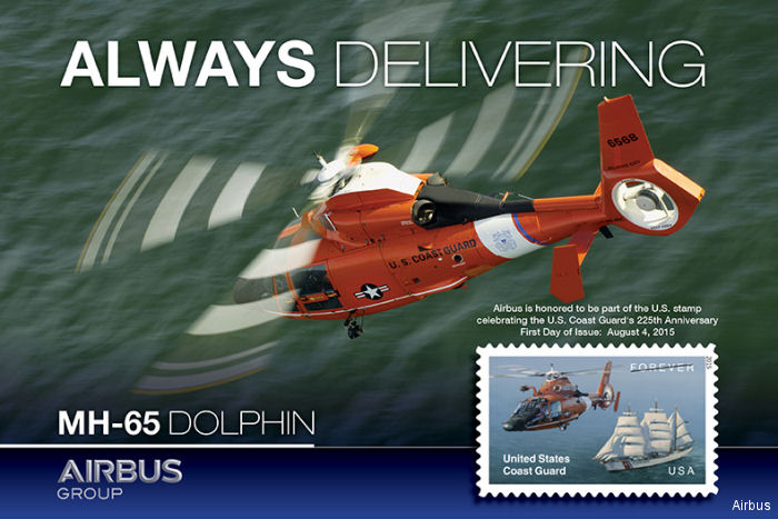 The MH-65 Dolphin featured on Stamp commemorating U.S Coast Guard s 225th Anniversary