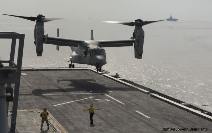 A U.S. Marine Corps MV-22B Osprey  made its first ever landing on the flight deck of a Republic of Korea Navy amphibious assault ship off the coast of the Korean peninsula, March 26, 2015.