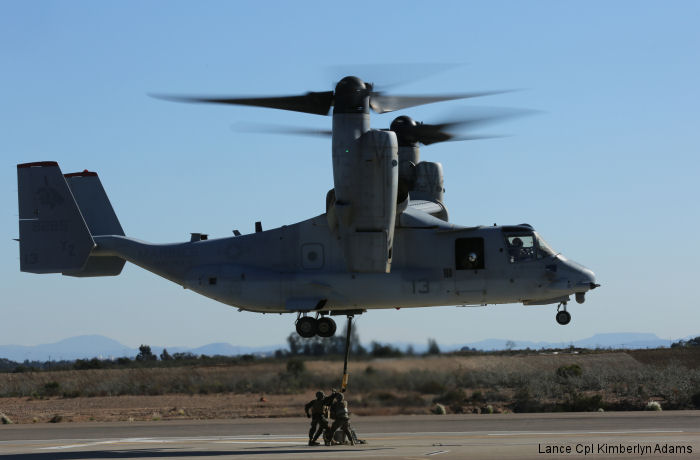 Marine Medium Tiltrotor Squadron VMM-363 supported Combat Logistics Battalion CLB-5 during daytime external lift training aboard Marine Corps Air Station Miramar, California