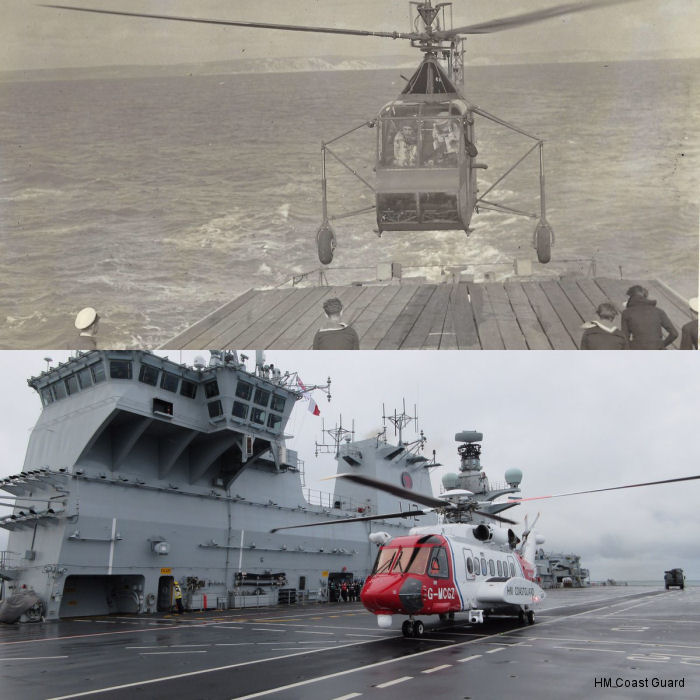 Sikorsky Hoverfly KK969  landing on the River-Class frigate HMS Helmsdale off Portland in 1946 and nowadays S-92 on HMS Ocean