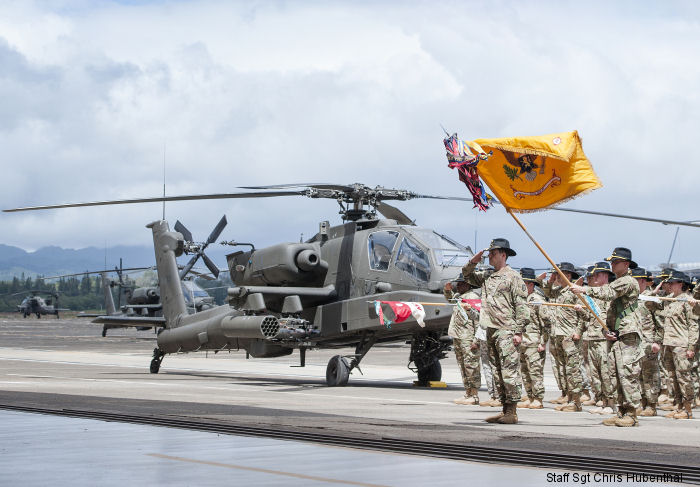 US Army 25th Combat Aviation Brigade received 24 AH-64D Apaches attack helicopters at Wheeler Army Airfield in Hawaii to replace the recently retired OH-58D Kiowa Warriors