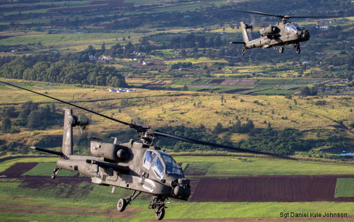 US Army s AH-64E Apache Guardians from 7th and 25th Infantry Divisions Combat Aviation Brigades or CAB will have a six-month training partnership on Joint Base Pearl Harbor Hickam, Hawaii