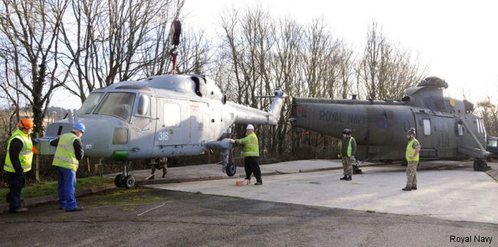 a Royal Navy decommissioned Lynx helicopter has arrived at HMS Raleigh to add realism to First Aid training
