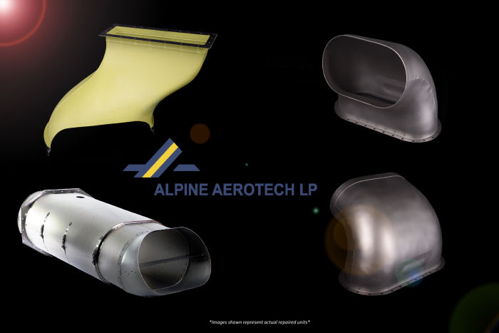 Alpine Aerotech introduced a pool of overhauled exchange parts for Bell 212/412 air management system components including serviceable Transition Ducts, Exhaust Ducts and Exhaust Ejector/Deflectors
