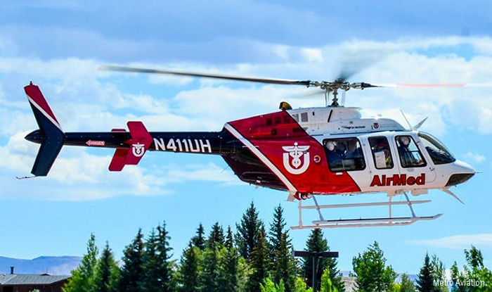 University of Utah's AirMed received three Bell 407GX helicopters from Metro Aviation