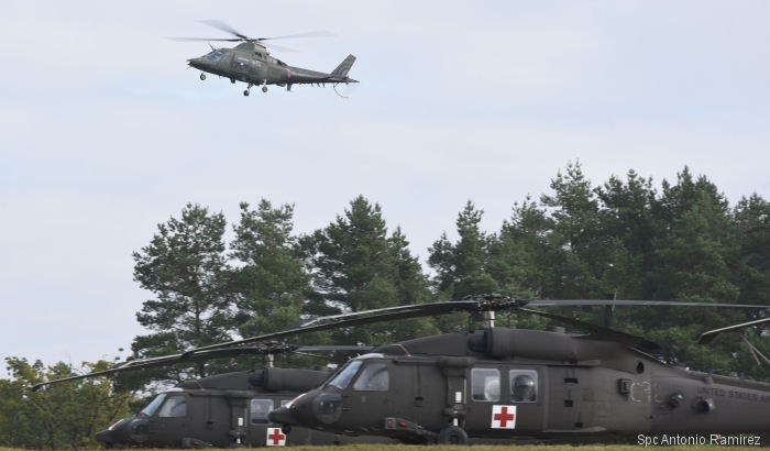 US Army 12th Combat Aviation Brigade Black Hawks and Apaches trained with Belgium A109 and Czech Rep Mi-17 aviators at Hohenfels, Germany