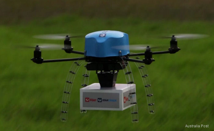 Australia Post testing new technology to deliver small parcels by Remotely Piloted Aircraft or 'drone' to provide customers with more choices on how and when they receive their online shopping.