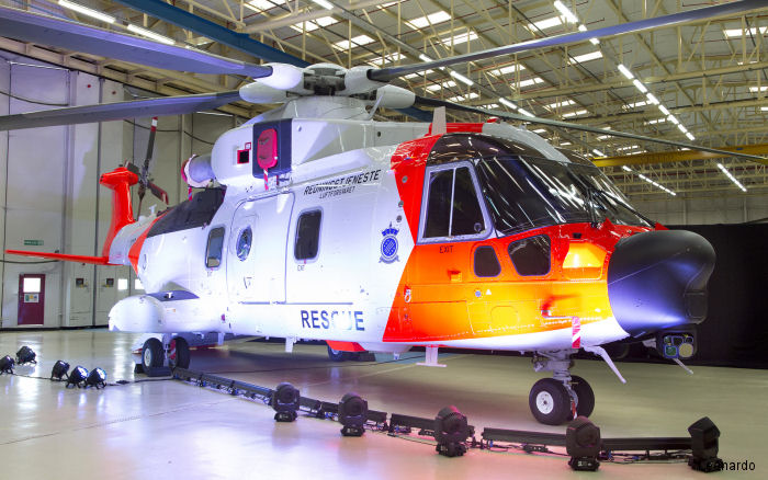 Norwegian AW101 NAWSARH SAR helicopter was unveilled by Anders Anundsen, Norway's Minister of Justice and Public Security, in a roll out ceremony held at Yeovil, UK