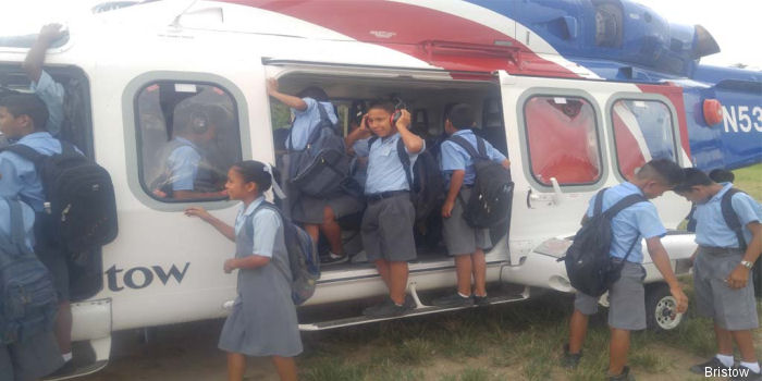 Guyana's students were given the opportunity to see a helicopter up-close.  Three Bristow's AW139 are under contract by ExxonMobil in the country since July 2015