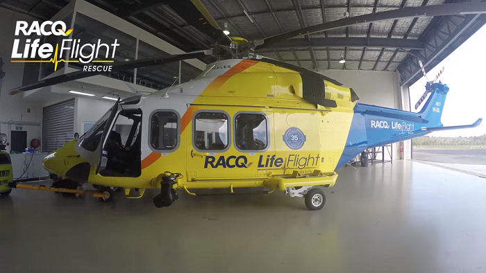 Australia's RACQ LifeFlight second of 3 AW139 entered service after  medical interior completed by local company HeliMods