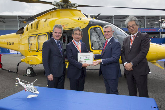 AW139 official distributor in Japan, Mitsui Bussan, celebrating the delivery of the 50th helicopter in the country