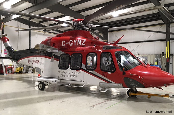 Spectrum Aeromed interior was installed on an AW139 for Ornge,  Ontario's air ambulance, base in Moosonee