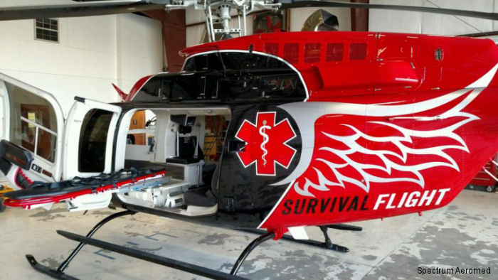 Spectrum Aeromed's articulating stretcher and medical interior was installed in four Bell 407 helicopters for Arkansas based, Survival Flight with two more planned