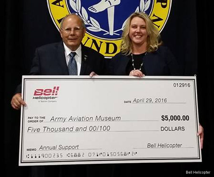 Bell Helicopter donated $5,000 in support of the Army Aviation Museum  during the 2016 Army Aviation Association of America's Mission Solutions Summit