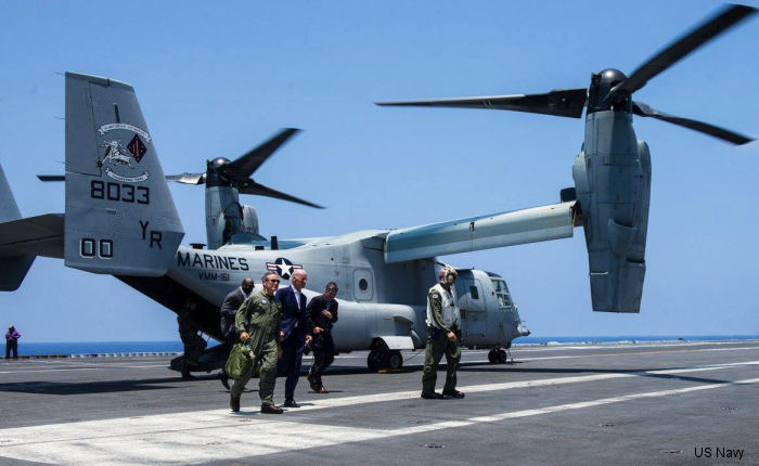 U.S. Vice President Joe ‎Biden‬ arrived on MV-22B Osprey from VMM-161