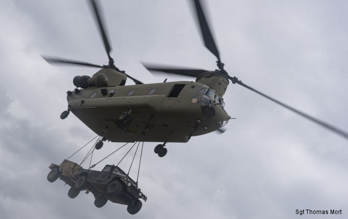 U.S. Army 12th Combat Aviation Brigade  conducted sling load and air operations training with CH-47F Chinook helicopters at the Grafenwoehr Training Area, Germany