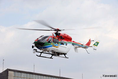 Kawasaki delivered a BK117C2 (EC145) helicopter to the Ehime Prefecture to replace an older BK117C1. It is the 13th C2 model to be used for firefighting and disaster relief in Japan
