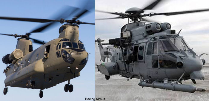 Singapore awarded contracts for Boeing CH-47F Chinook and Airbus H225M Caracal helicopters to replace older variants currently in use, the AS332 Super Puma and CH-47D