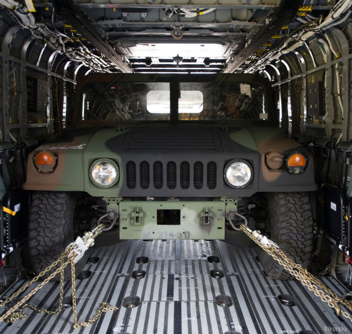 Humvee inside the CH-53K King Stallion