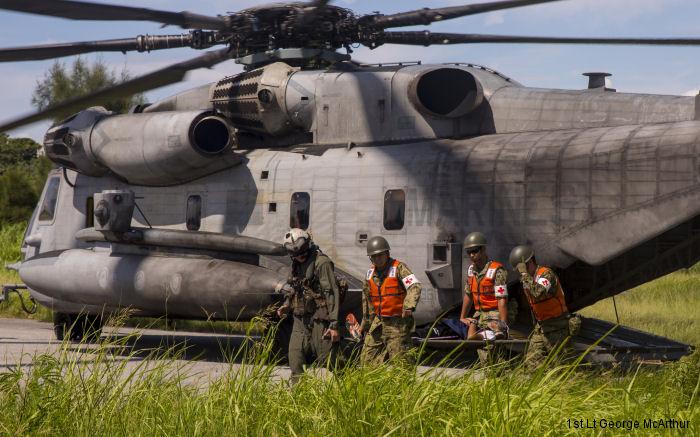 US Marines HMH-361 CH-53E Super Stallions participated with the Japan Ground Self-Defense Force (JMSDF) and Okinawa emergency services in Exercise Chura-Shima Rescue 2016