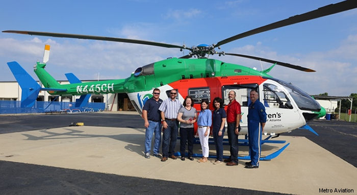 Children's Healthcare of Atlanta received  the world's first EC145e ambulance completed by Metro Aviation