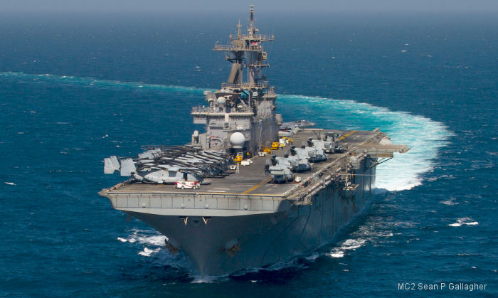 Wasp-class amphibious assault ship USS Essex (LHD-2) undergoing upgrades that will allow it to field the F-35B Joint Strike Fighter (JSF)