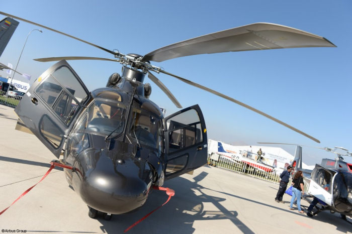 Airbus models present at this year FIDAE fair includes the H125 (utility version), H130 (VIP), H155 (VIP), H215M (Chilean Army AS532 Cougar) and Chilean Navy s AS365 Dauphin and AS332 Super Puma