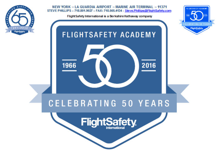 FlightSafety Academy in Vero Beach, Florida will celebrate the 50th anniversary of its founding on October 17, 2016.