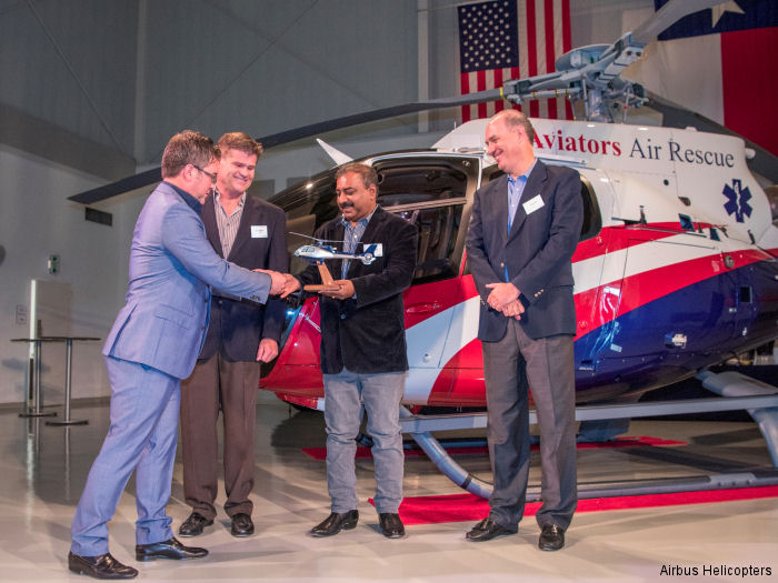 U.S. Air Medical Group Holdings (AMGH) and Aviators Air Rescue Ltd accepted first of three H130 / EC130T2 for emergency medical services  (EMS) operation in India