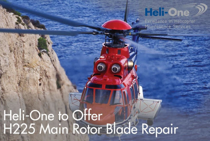 Heli-One, CHC MRO services, announced its H225 main rotor blade repair capability at its Stavanger, Norway facility will be fully operational by September 2017