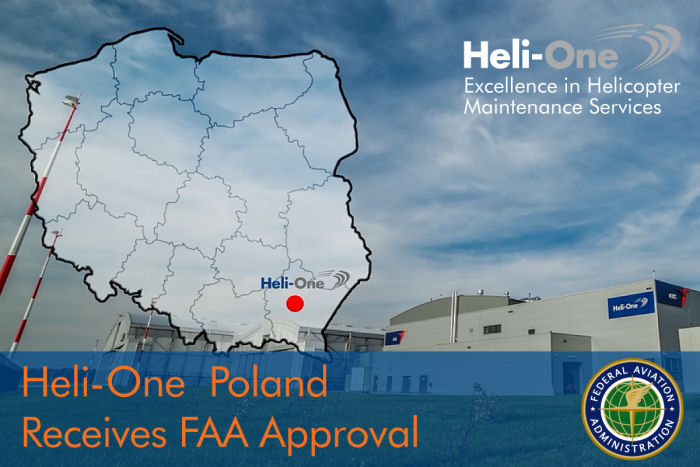 Heli-One, CHC MRO Service, Poland facility opened in 2014 has received Federal Aviation Administration (FAA) repair station approval.