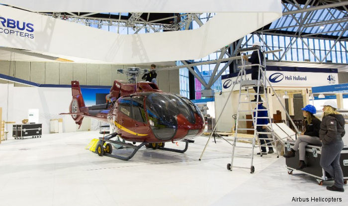 Airbus Helicopters H145 from Elifriulia in EMS Configuration along a H130 are on display at  Helitech International exhibition 2016, Amsterdam, October 11-13