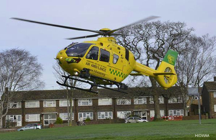 Hampshire and Isle of Wight Air Ambulance (HIOWAA) new H135 / EC135T3  helicopter arrived at the charity's air base in Thruxton, near Andover, UK