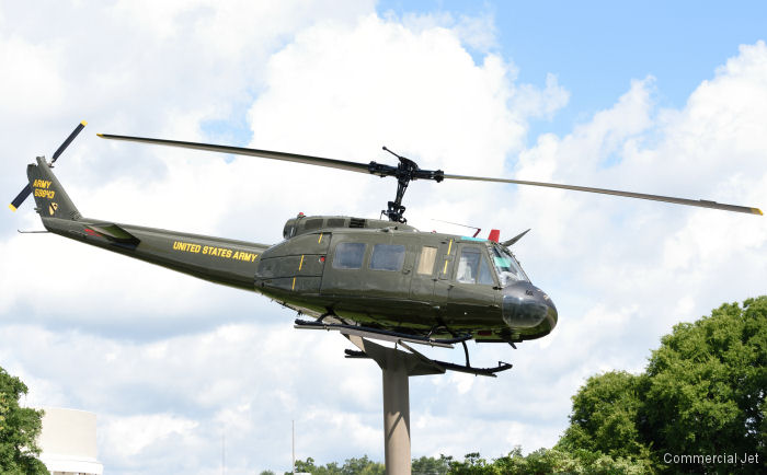 The Bell UH-1H Huey on static display at the Veterans Park in Dothan, Alabama received a paint restoration by Commercial Jet