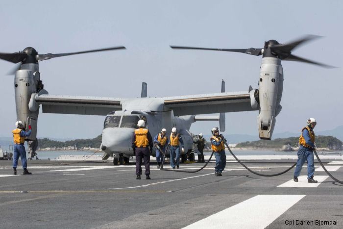 US Marines Ospreys from VMM-265 based at Okinawa joined Japan Self Defense Force (JSDF) helicopter destroyer JS Hyuga (DDH 181) in their fifth day of disaster relief operations after the earthquakes