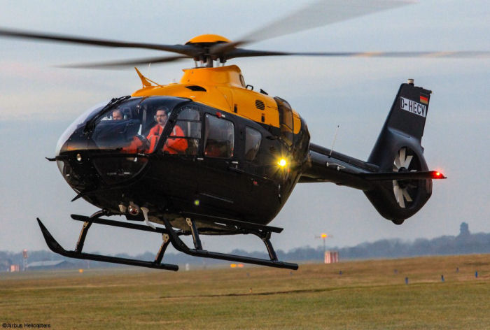 UK MoD new Military Flying Training System (UKMFTS) helicopters, the EC135T3 / H135 Juno and the EC145T2 / H145 Jupiter for the first time together in Britain