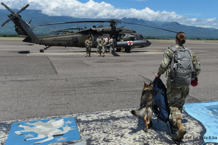 U.S. Joint Task Force-Bravo, based in Honduras, 1-228 AVN Black Hawk helicopters provided hoist training for the Joint Security Forces' Military Working Dogs and handlers