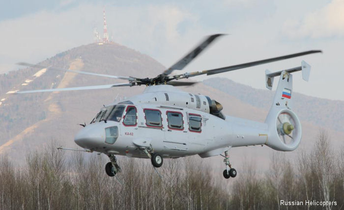 The twin-engine medium helicopter Ka-62 produced by the Progress Arsenyev Aviation Company successfully completed its maiden flight