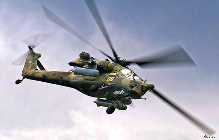 Russian Helicopters featuring the multirole Mi-35M and the Mi-28NE attack helicopters at Kazakhstan Defense Expo KADEX 2016 in Astana, June 2-5