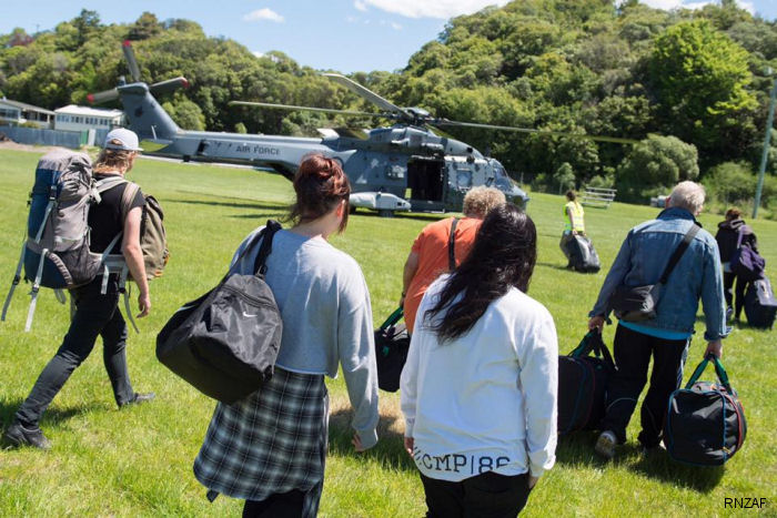 Eight aircraft along HMNZS Canterbury (L421) and HMNZS Wellington (P55) ships deliver vital supplies of immediate aid and evacuate stranded tourists and residents