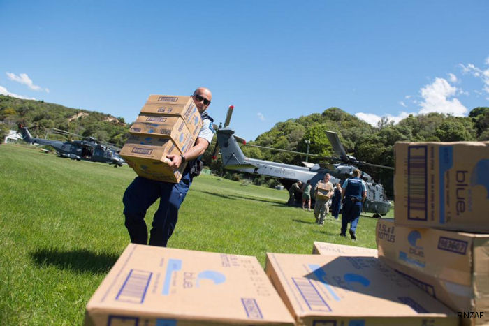 NZDF NH90s bring aid supplies to Kaikoura
