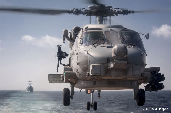 An MH-60R Seahawk take off from the USS Stockdale (DDG 106)