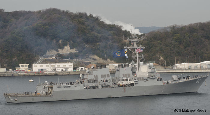 The Flight IIA Arleigh-Burke class guided-missile destroyer USS Lassen (DDG 82) leaves Yokosuka, Japan, after nearly 10 years in the Forward Deployed Naval Forces being replaced by USS Barry (DDG 52)