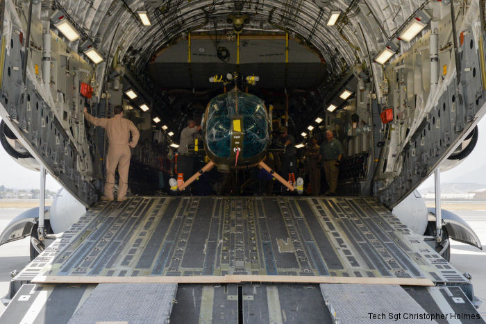 Four more MD530F arrived via C-17 at Kabul bringing the Afghan Air Force total to 27 Cayuse Warrior helicopters. As the ones delivered in July they have a new sighting system