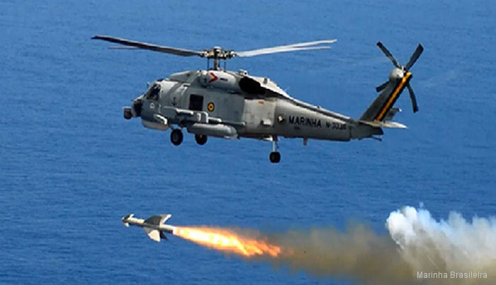 Brazilian Navy S-70B Seahawk fired Penguin antiship missiles during exercise MISSILEX 2016