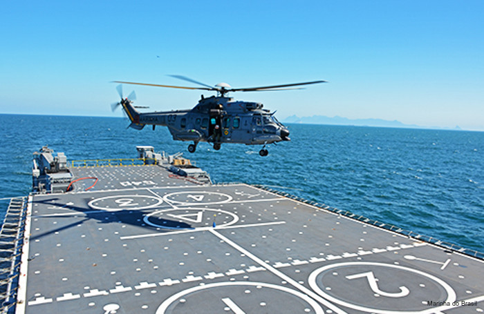 Brazilian navy new LPD ship NDM Bahia (ex French Siroco) conducts first aviation safety qualification with the EC725 / H225M helicopter