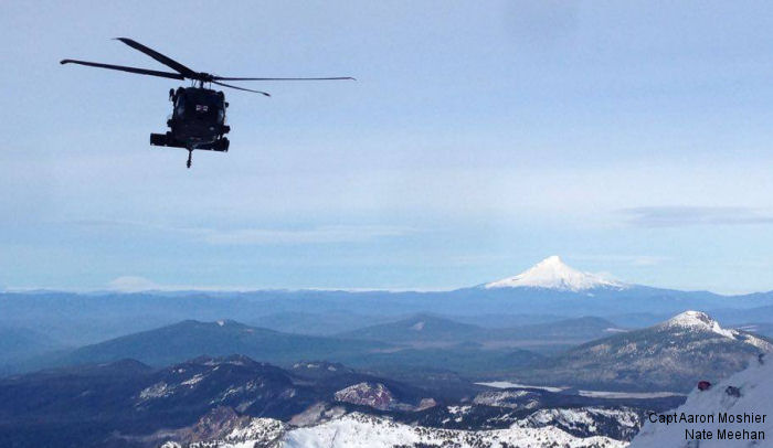 The Oregon Army National Guard s medical evacuation helicopter unit is well-known for  mountain rescues. Mount Hood on background.