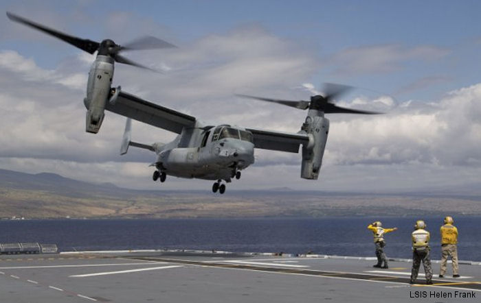 Australian helicopter carrier HMAS Canberra has landed a US Marines  MV-22B Osprey tiltrotor aircraft on its flight deck for the very first time during RIMPAC 2016