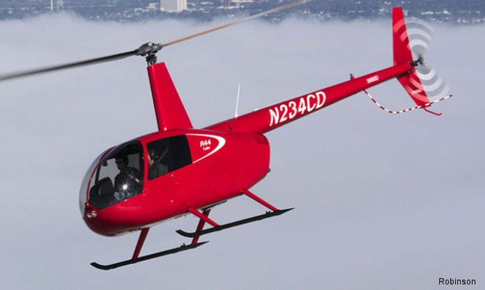 The two-place R44 Cadet helicopter received FAA certification. Developed for the training market costs $339,000