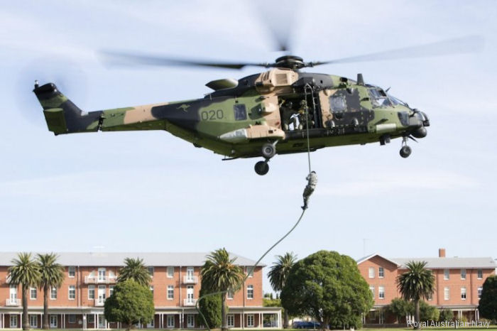 NH90 from 808 Squadron in fast rope training at HMAS Cerberus, Victoria